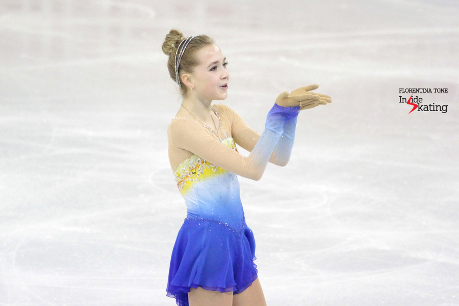 A smiling Elena Radionova at the end of her free program in Barcelona; with that particular performance, the Russian skater won the silver medal in Barcelona