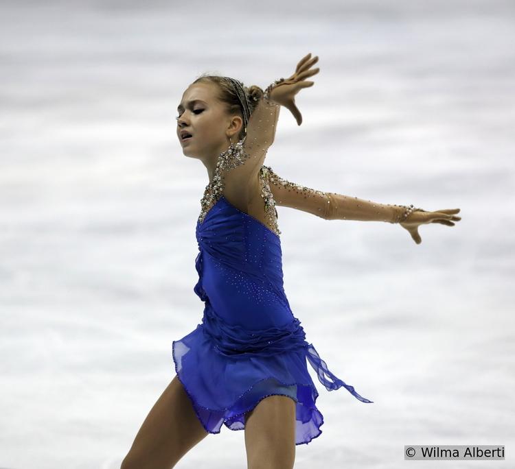 Elena Radionova skating her free program in Bordeaux, at 2014 TEB (Photo courtesy of Wilma Alberti)