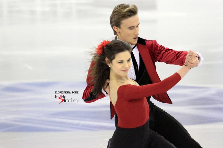 Elena Ilinykh and Ruslan Zhiganshin practicing their short dance in Barcelona