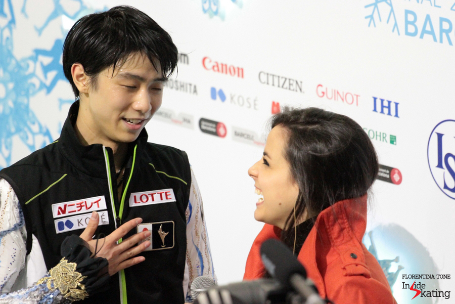 The Spanish ice dancer Sara Hurtado interviews the winner; their joy is almost palpable