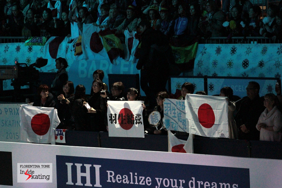 Fans of Yuzuru Hanyu in the stands of CCIB arena in Barcelona