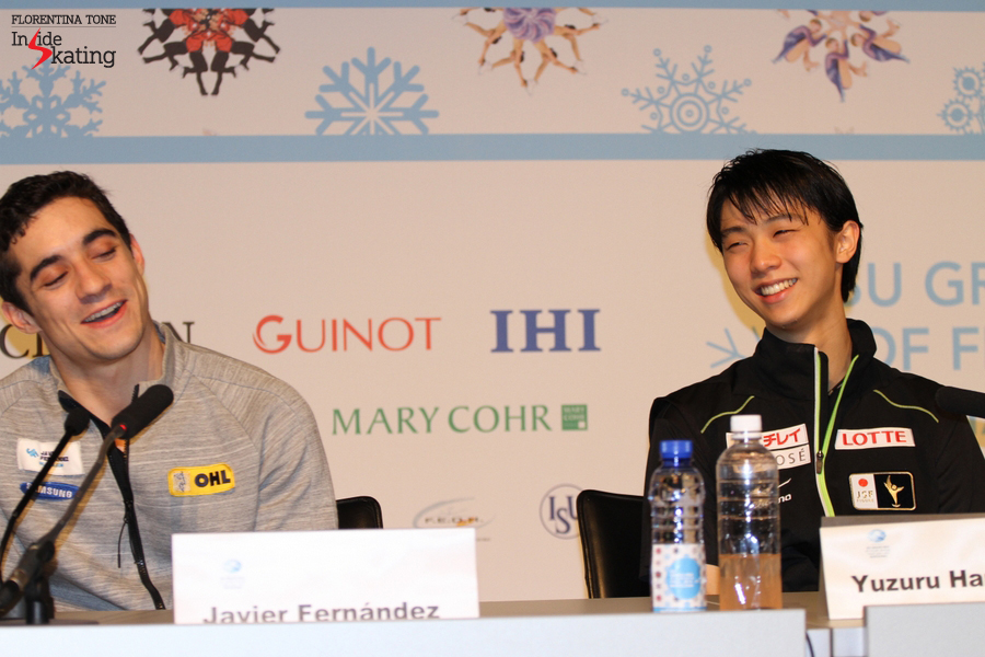 The team mates having fun and exchanging accomplice looks during the press conference