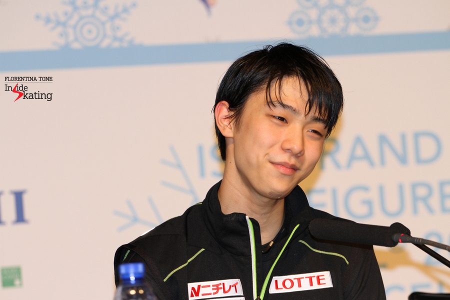 Asked about the missed Lutz , Hanyu explained smiling that he was really tired towards the end of the program