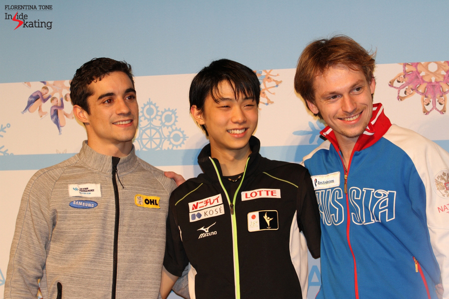 The happy, enthusiastic medalists of the men's event in Barcelona: Javier Fernandez (silver), Yuzuru Hanyu (gold), Sergei Voronov (bronze)
