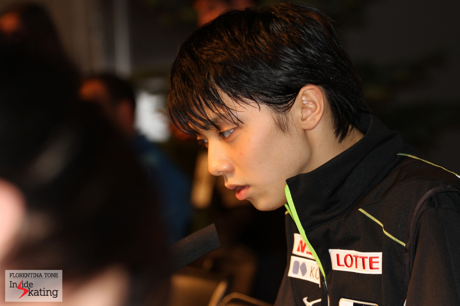 Hanyu, interviewed by the Japanese media at the end of the press conference
