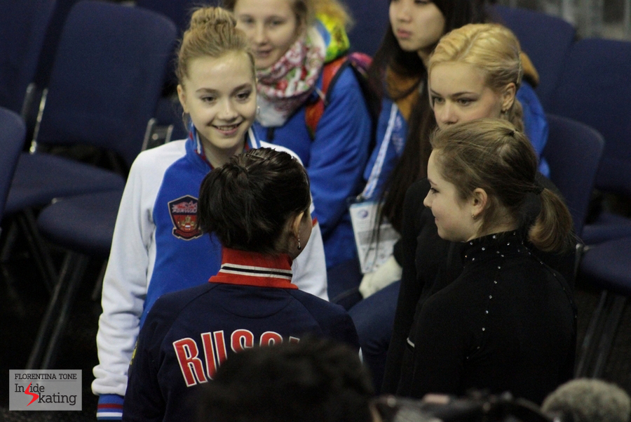 The Russian ladies at GPF in Barcelona, prior to taking the ice for their practice