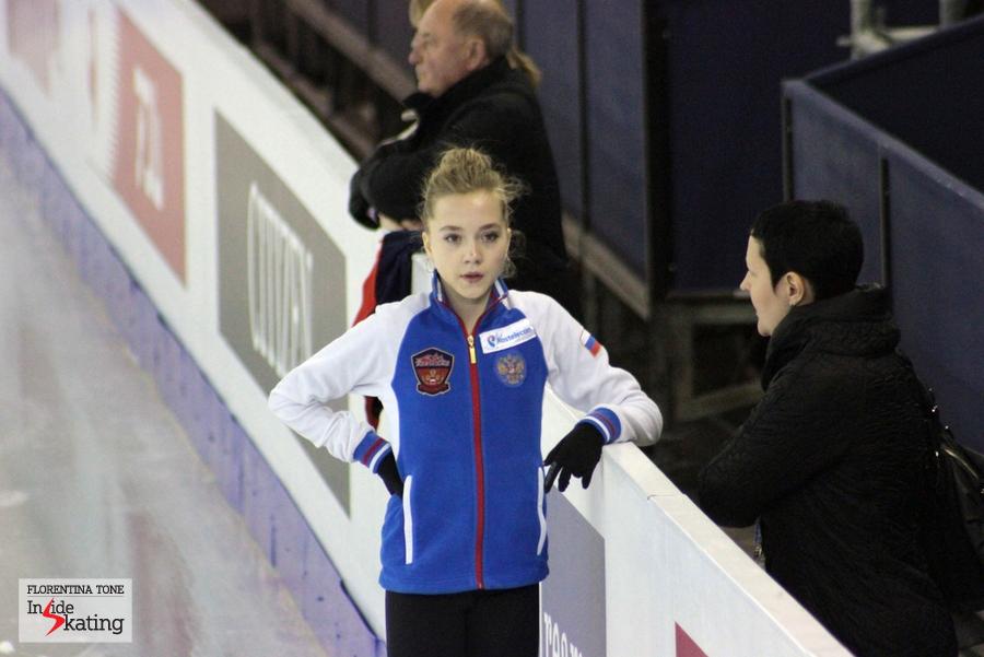 The golden girl Elena Radionova, talking to her coach, Inna Goncharenko