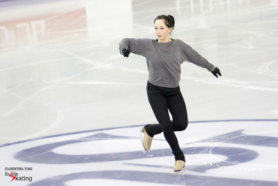 Elizaveta Tuktamysheva, practicing her Bolero short program