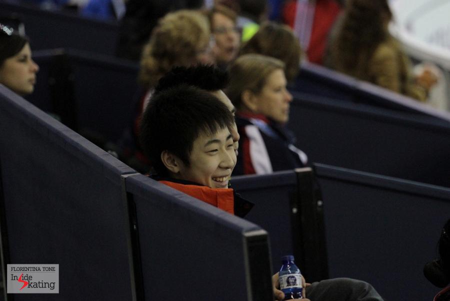 The junior Boyang Jin, having fun while watching the practice