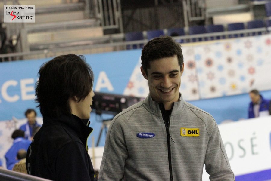 Takahito Mura and Javier Fernandez having fun, prior to them taking the ice for the practice