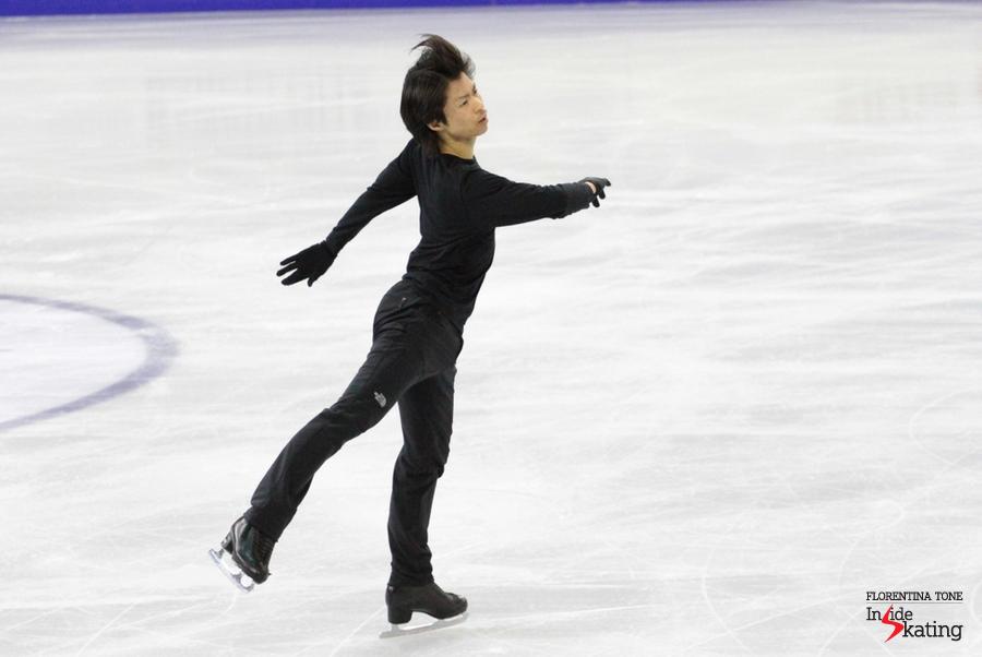 Tatsuki Machida, practicing his short program, to Fantasia for violin and orchestra