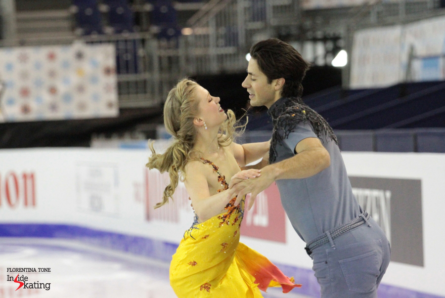 Kaitlyn Weaver and Andrew Poje, practicing their free dance to Vivaldi