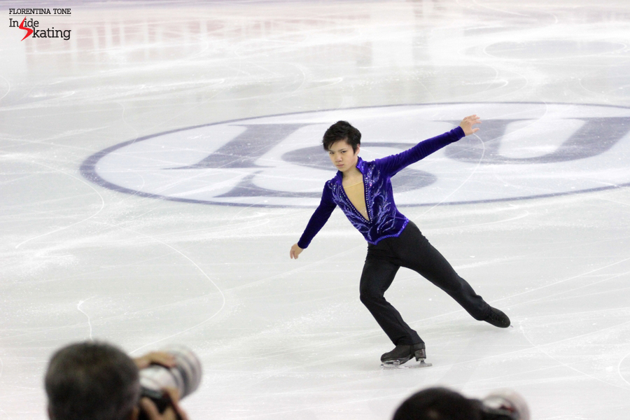 "Skating to ""Violin Sonata No. 9"" by Kreutzer, Shoma Uno received 75.21 points, finishing this particular segment of the event on the third place"