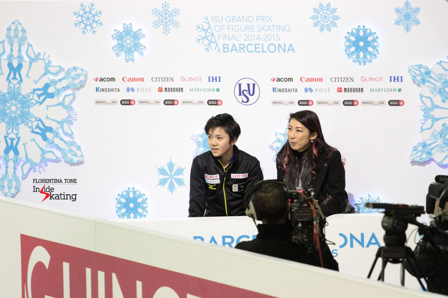 "Alongside coach Mihoko Higuchi in the Kiss and Cry; minutes later, he stated:  ""I'm asking myself what happened. I think it was so-so, but I regretted missing the triple Axel. So tomorrow I want to make up for it, tomorrow I would like to do a quad"""