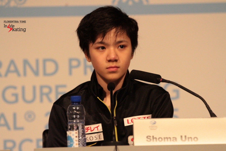 "At the press conference, Shoma stated with sincerity: ""I am surprised with myself. I skated much better than I expected. After the short program I was sad but today's free skating made up for it"""