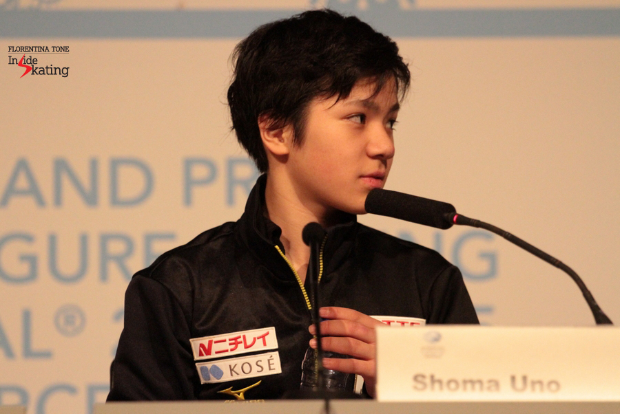 The Junior Grand Prix champion, answering to the journalists' questions during the official press conference after the free program