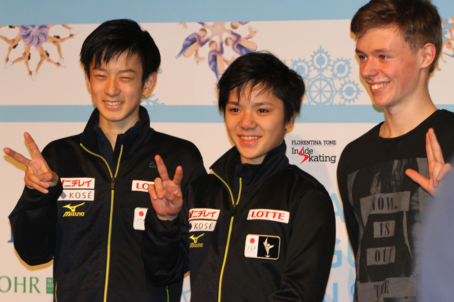 The medalists of this season's edition of the Grand Prix Final: Sota Yamamoto (silver), Shoma Uno (gold), Alexander Petrov (bronze)