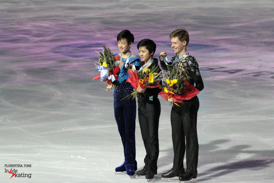 The junior men's podium in Barcelona, with Shoma Uno winning the gold - a happy and very modest Junior Grand Prix Final Champion