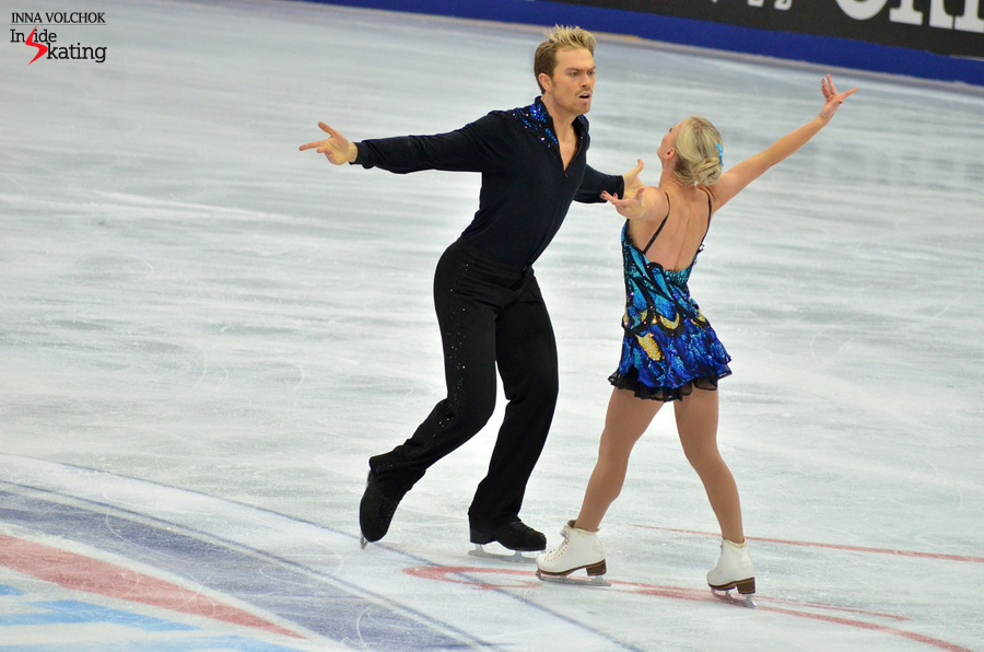 Penny Coomes and Nicholas Buckland, as the butterfly and the hurricane, at this year's edition of Rostelecom Cup in Moscow, where they won the first Grand Prix medal of their career, a bronze; unfortunately, this gorgeous program won't be in Barcelona next week