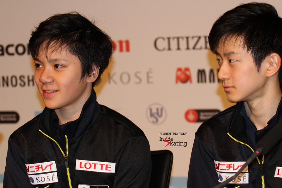 Shoma and Sota, gold and silver in Barcelona, during the press conference after the free skate