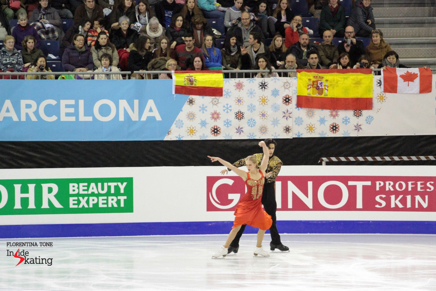What better place to skate Flamenco/Paso Doble than Barcelona? Kaitlyn Weaver and Andrew Poje at 2014 Grand Prix Final, during their SD
