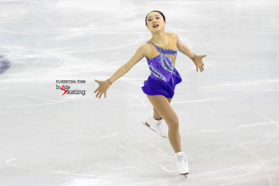 An enthusiastic Wakaba, skating her free program to Gershwin in Barcelona