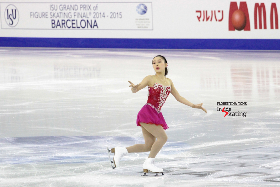 Wakaba Higuchi during her short program in Barcelona, at the Grand Prix Final