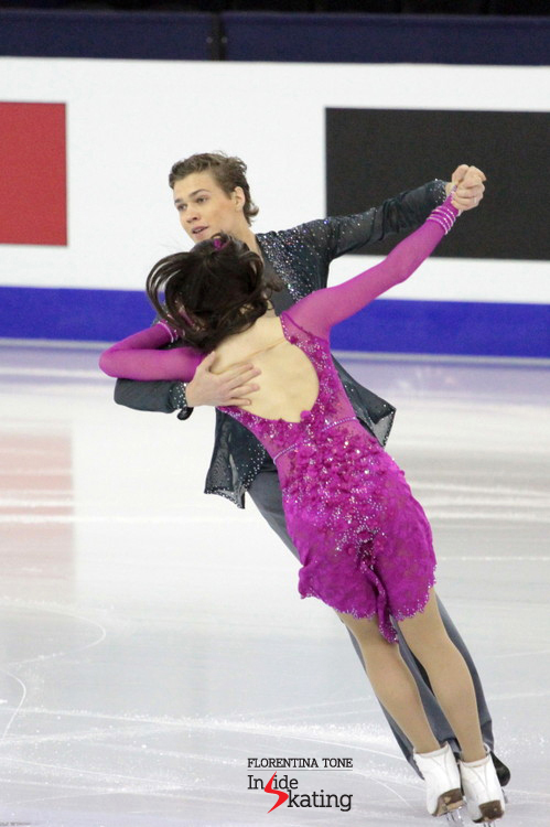 Alla Loboda and Pavel Drozd during their SD in Barcelona, at the Junior Grand Prix Final