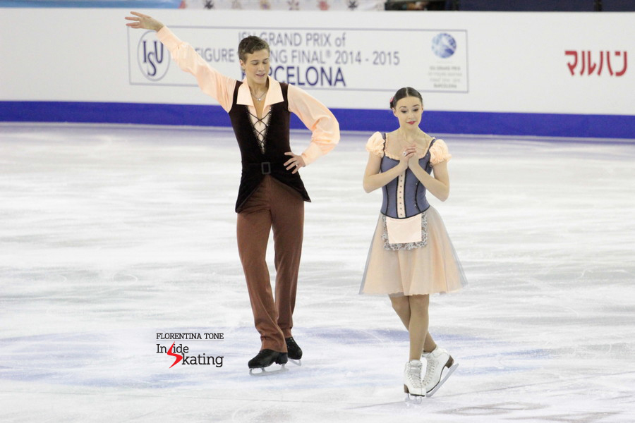 Alla Loboda, as Giselle, and Pavel Drozd, as the count, in Barcelona, at the Junior Grand Prix Final