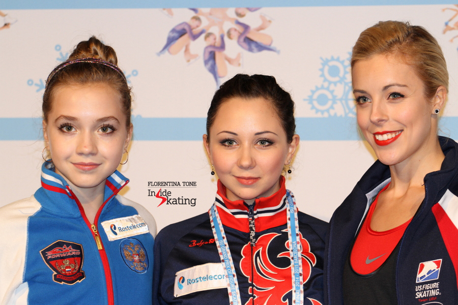 The medalists of 2014 GPF in Barcelona: Elena Radionova (silver), Elizaveta Tuktamysheva (gold) and Ashley Wagner (bronze).