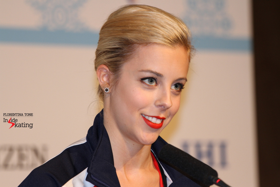A radiant Ashley Wagner in Barcelona, during the press conference after the free skate