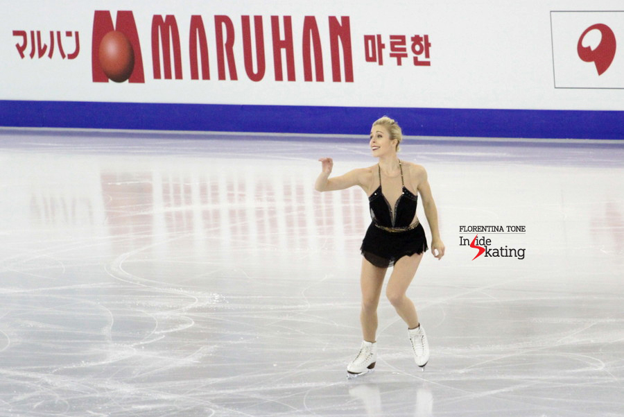 Skating her short program, to Aram Khachaturian's Spartacus; the SP has been choreographed by Adam Rippon and Cindy Stuart