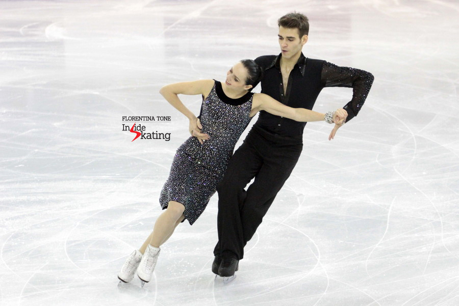 Betina Popova and Yuri Vlasenko, performing their short dance in Barcelona, at the 2014 Junior Grand Prix Final