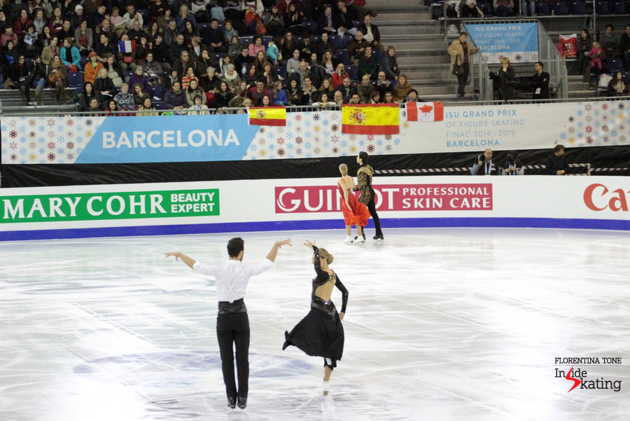 No better place to skate a Flamenco/Paso Doble than Barcelona, in a crowded, supportive arena, tapestried with Spanish flags