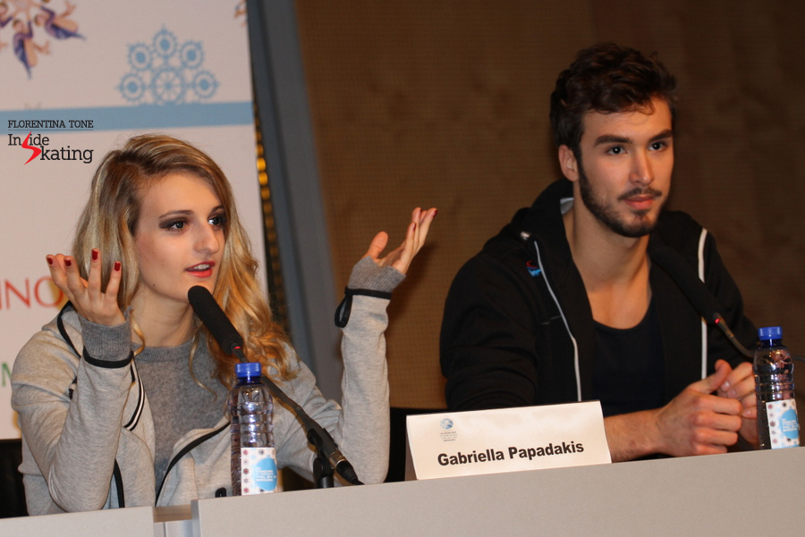 "Gabriella Papadakis during the press conference after the free skate: ""We have skated together for a long long time and we have worked with a theatre coach this year, to improve our looks together and our feelings, so everything in the free dance is feltg"""