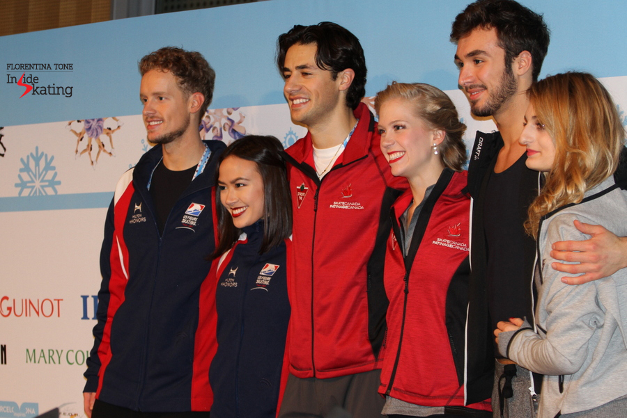The medalists: Madison Chock and Evan Bates (silver), Kaitlyn Weaver and Andrew Poje (gold), Gabriella Papadakis and Guillaume Cizeron (bronze)