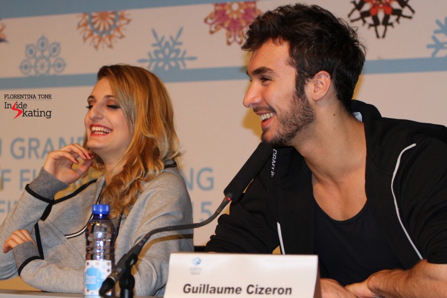 During press conference after the free skate in Barcelona