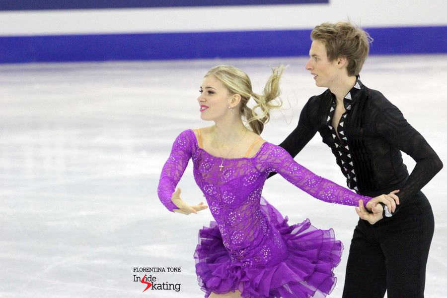 Mackenzie Bent and Garrett MacKeen, lying in fourth place after the short dance