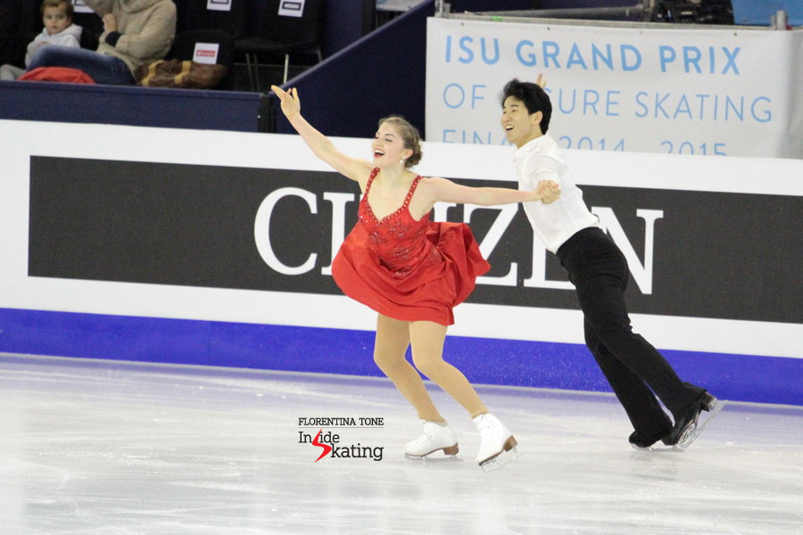Madeline Edwards and Zhao Kai Pang, skating their free dance in Barcelona