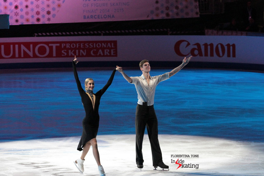 Anna Yanovskaya and Sergey Mozgov during the medals' ceremony in Barcelona. This is their second Junior Grand Prix Final title, after the one they won in Fukuoka, a year before