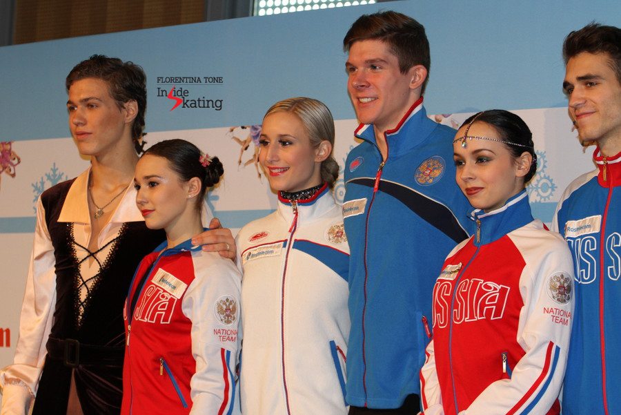 The medalists of the junior ice dancing event (2014 JGPF in Barcelona