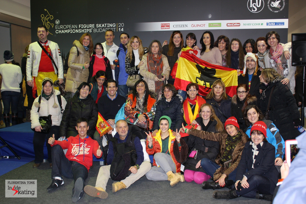 A fiesta: Spanish fans supporting Javier, gathered in a group picture