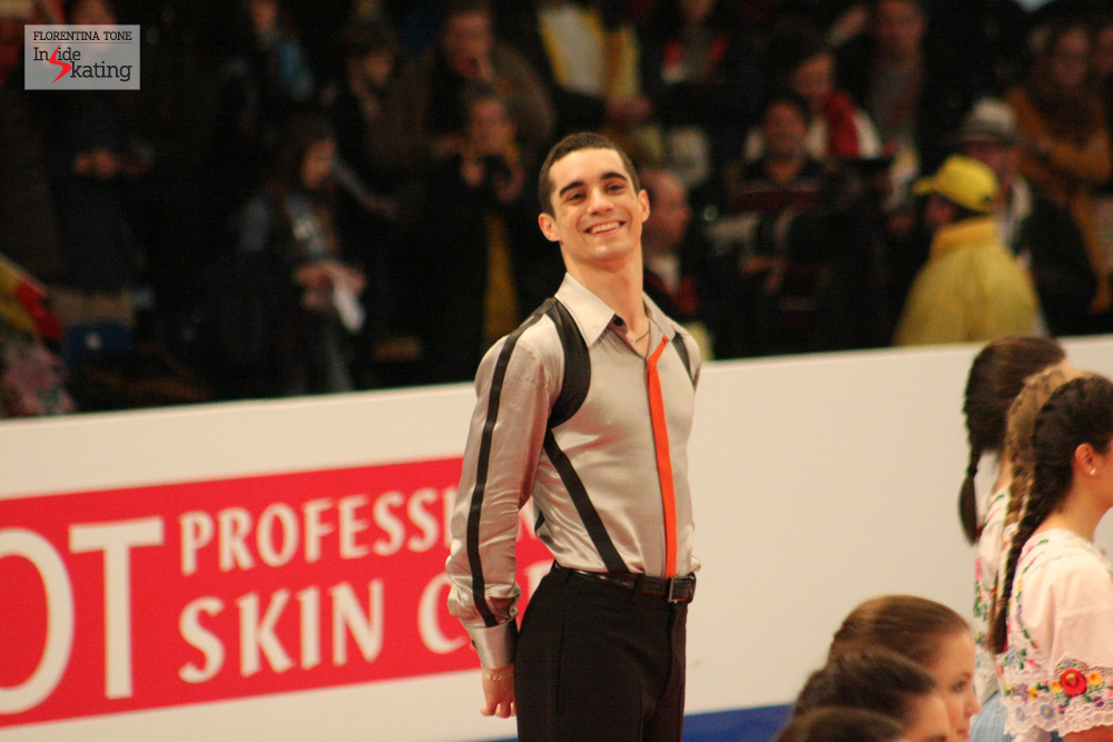 A happy Javier Fernandez on the podium in Budapest