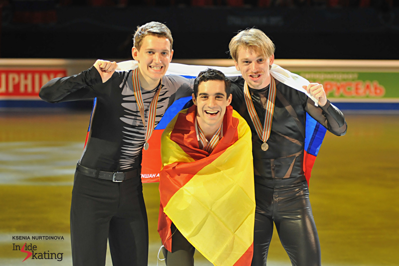"""Is there a place in here for me?"" Javier Fernandez, alongside Maxim Kovtun (silver) and Sergei Voronov (bronze)"