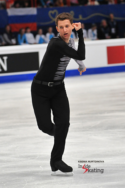 Maxim Kovtun, the silver medalist in Stockholm, during his free skate