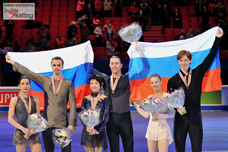 Russian sweep in the pairs event, at 2015 Europeans