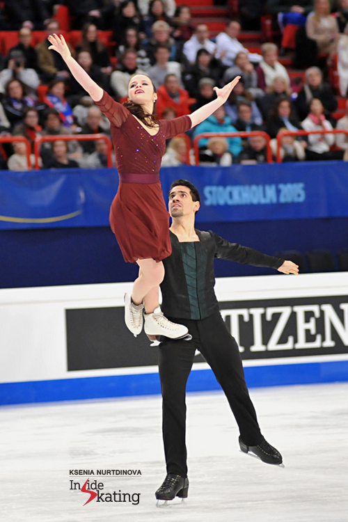 Anna and Luca performing their free dance in Stockholm, at this year's edition of the Europeans