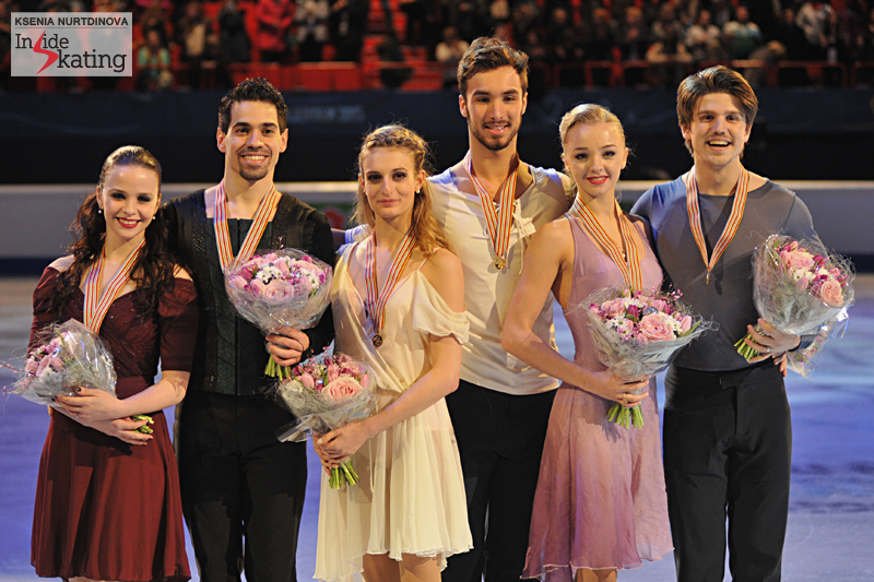 2015 Europeans: gold for Gabriella Papadakis and Guillaume Cizeron, silver for Anna Cappellini and Luca Lanotte, bronze for Alexandra Stepanova and Ivan Bukin