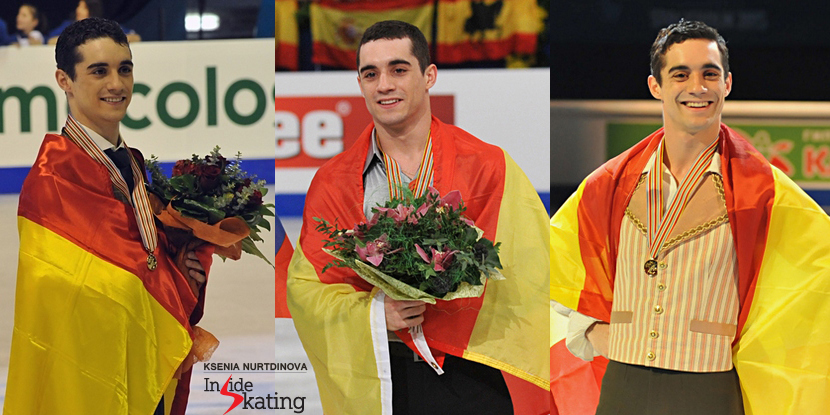 Golden moments for Javier Fernandez at the Europeans: 2013 (Zagreb), 2014 (Budapest), 2015 (Stockholm)