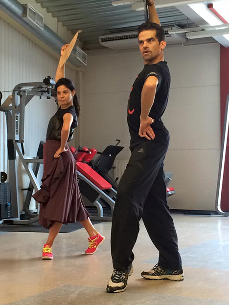 Moscow, August 2014: Antonio Najarro teaching Elena Ilinykh the basics of flamenco, for this season's short dance (photo courtesy of Elena Ilinykh)